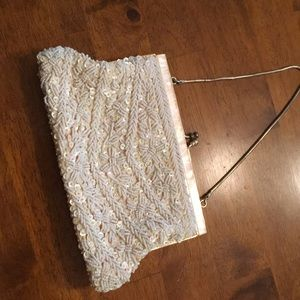 Handbags - Vintage evening bag sequence crane mother of pearl